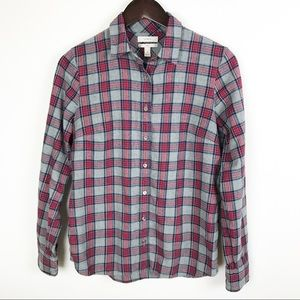 J Crew Plaid Shirt Boy Fit Red Gray Button Front